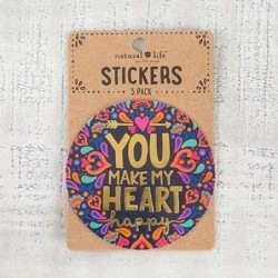 Lot de 3 stickers - Natural Life - You make my heart happy
