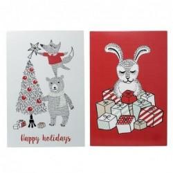 Lot de 2 cartes de Noel - Bloomingville - Red