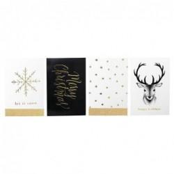 Lot de 4 cartes de Noel - Bloomingville - Black and gold