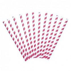 Lot 12 pailles - papier - rayées rouge et blanc