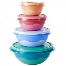 Lot de 4 boites alimentaires rondes - Rice - Multicolore