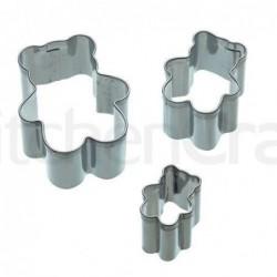Lot de 3 emporte-pièces - Ourson - metal