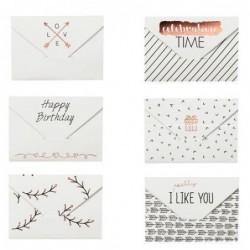 Lot de 6 mini-enveloppes à message - Motifs - Rader