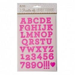 Planches d'étiquettes - Lot de 3 - Rice - Lettres roses