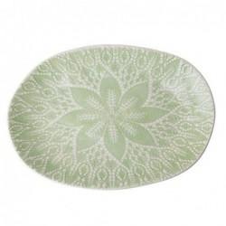 Grand plat de service - Rice - Dentelle bosselée - Pastel green