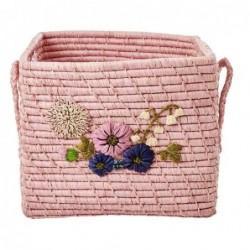 Corbeille Rafia - Rice - Broderie florale - Blush