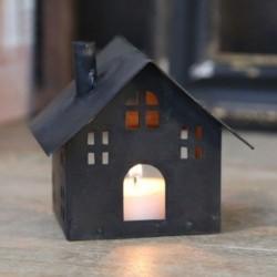 Photophore - Maison en métal noire - Chic Antique - 9 cm