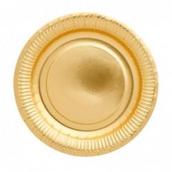 Lot de 8 assiettes en carton - Rice - Gold