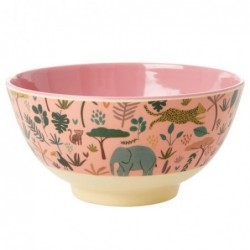 Bol Mélamine - Rice - All over jungle animals - Coral