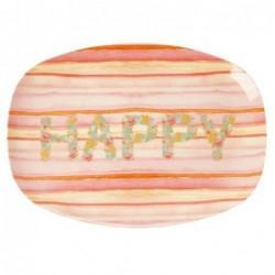 Assiette rectangulaire Mélamine - Plateau Rice - Happy pink