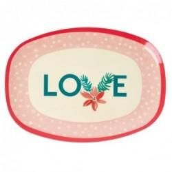 Assiette rectangulaire Mélamine - Plateau Rice -  Love