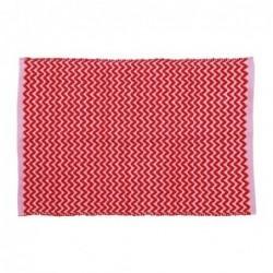 Tapis de sol en plastique recyclé - Rice - Red and Pink Zig Zag - 60X90