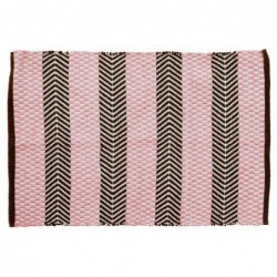 Tapis de sol en plastique recyclé - Rice - Pink and Brown - 60X90
