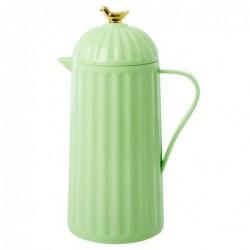 Thermos 1L - Rice - Gold Bird - Pastel Green