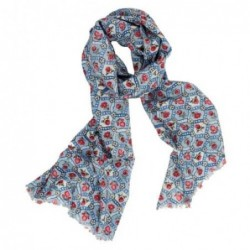 Foulard floral en laine entrelacée Pip Studio - Bleu