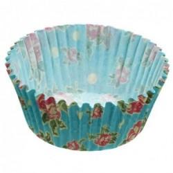 Lot de 60 caissettes a cupcakes - bleu vintage