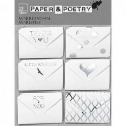 Lot de 6 mini-enveloppes à message - argentées - Rader