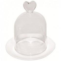 Mini coupelle et cloche - coeur en verre -  Rader