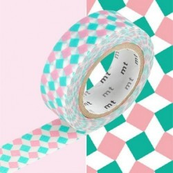 Masking tape - MT - petits carrés rose et vert