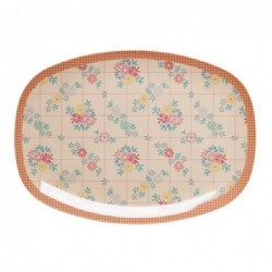 Assiette rectangulaire Mélamine - Plateau Rice - Embroidered flower