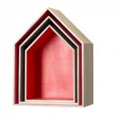 Lot de 3 Etagères maison Rouge - Bloomingville
