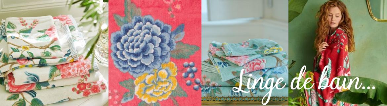 Acheter en ligne du linge de bain serviettes fleuries et gant de toilette